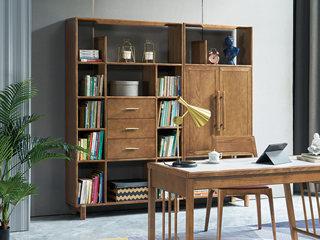 北欧风格 精选白蜡木 坚韧耐磨 天然清晰木纹 稳固承重 半开放式书柜(右侧)