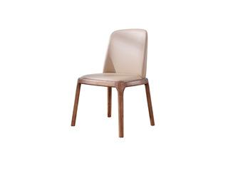 北欧风格 北美进口白蜡木 西皮坐垫 舒适靠背 古铜色支脚 餐椅