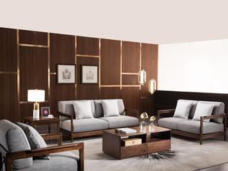 意式极简 优雅胡桃木框架 密度海绵 承托有力 透气清爽麻布 沙发组合(1+2+3)