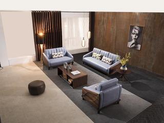 意式极简 优雅胡桃木框架 密度海绵 承托有力 皮艺软包 柔软麻布腰枕 双扶手单人位沙发
