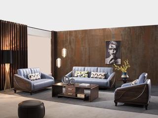 意式极简 优雅胡桃木框架 密度海绵 承托有力 皮艺软包 柔软麻布腰枕 沙发组合(1+2+3)