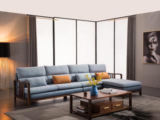 意式极简 胡桃木框架 透气清爽麻布软包 强力承托海绵 时尚科技布 转角沙发(1+3+左贵妃)