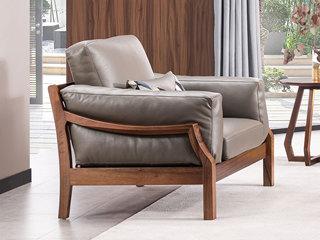 意式极简 皮艺 优雅胡桃木框架 强力承托弹簧 密度海绵 双扶手单人位沙发