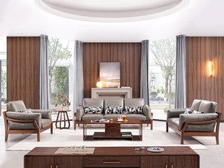 意式极简 皮艺 优雅胡桃木框架 强力承托弹簧 密度海绵 沙发组合(1+2+3)