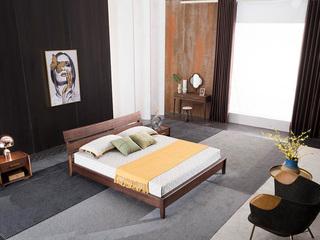 意式极简 优质胡桃木 自然质朴 耐磨耐腐 清晰木纹 1.8*2.0m床