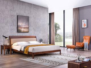 意式极简 细腻胡桃木 耐磨耐腐 优雅木纹 时尚超纤皮靠包 1.8*2.0m床