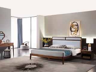 意式极简 细腻胡桃木 经久耐用 优质超纤皮 时尚蓝靠包 1.8*2.0m床