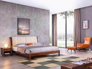 意式极简 优质科技皮 胡桃木框架 高密度海绵 清晰天然木纹 1.8*2.0m床