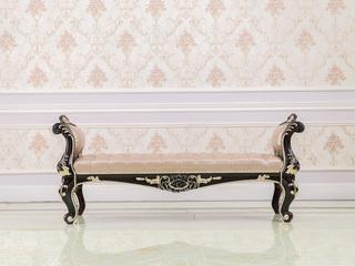 进口桃花芯木新古典床实木床尾凳