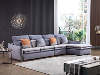 现代简约 进口樟子松坚固框架 科技布面料 羽绒+乳胶沙发  弹簧底坐 转角沙发(1+3+左贵妃)