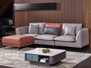 现代简约 科技布 松木底架 灰色+橙色 沙发组合(1+3+脚踏)