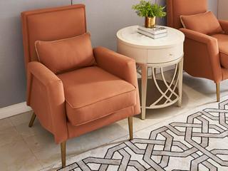 简美风格 北美进口榉木坚固框架 棉绒布面料 休闲椅