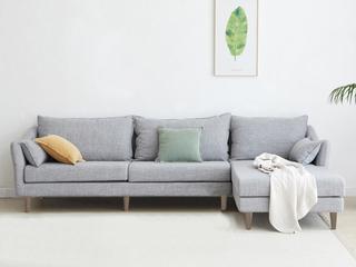 现代简约 俄罗斯进口落叶松坚固框架 优质棉麻布艺 灰色 转角沙发(3+左贵妃)