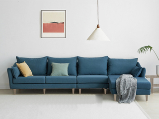现代简约 俄罗斯进口落叶松坚固框架 优质棉麻布艺 深蓝 转角沙发(1+3+左贵妃)