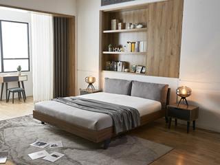 现代简约 柚木色 LC9801 实木床 斜脚款 1.8*2.0米床