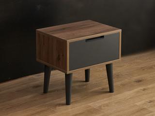 现代简约 柚木色 LC9807 实木 床头柜