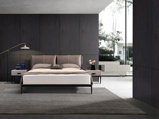 奢工 潮品系列 极简风格 807咖色床 1.5*2.0米 头层黄牛皮床