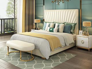 轻奢风格 皮艺 米白色 1.8*2.0米床(搭配10公分松木排骨架)