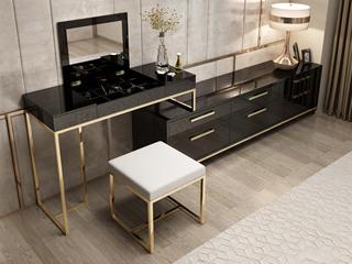 轻奢风格 镀金不锈钢 细腻光滑台面 时尚黑 组合妆台+长柜
