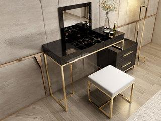 轻奢风格 镀金不锈钢 细腻光滑台面 时尚黑 组合妆台+短柜