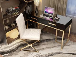 轻奢风格 镀金不锈钢 细腻光滑台面 时尚黑 1.2m书桌