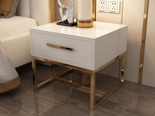 輕奢風格 精致皮藝 優雅白 床頭柜