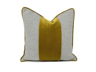 轻奢 肌理布+呢布 黄色、灰色 花纹 抱枕
