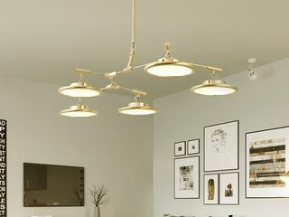 后现代 个性创意 北欧奢华 客厅卧室餐厅吧台吊灯 金色 5头(含LED灯带)