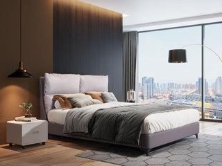 现代简约 实木框架+科技布 优雅中性灰1.8米双人床