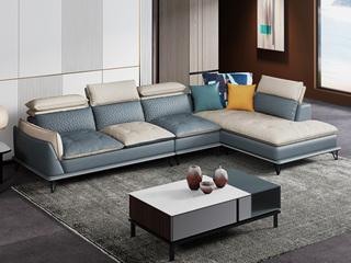 极简风格 超柔高弹 优质科技布+乳胶颗粒 1+3+左贵妃 双色沙发组合