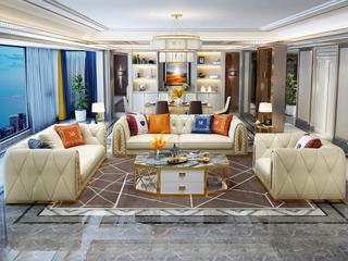 轻奢风格 皮艺 俄罗斯进口松木框架 沙发组合(1+2+3)(抱枕随机发货)