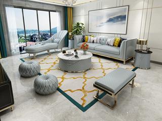 轻奢风格 皮艺 俄罗斯进口松木框架 天蓝色 沙发组合(双扶手3人位+右贵妃+长凳)(抱枕随机发货)