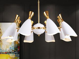 后现代 铝材烤漆 多层电镀工艺 精工铁艺灯臂 酒杯创意吊灯 白+金 8头 (含G9暖光5W)