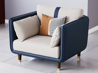 轻奢风格 高端纳帕皮+实木框架 单人位沙发
