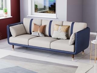 轻奢风格 高端纳帕皮+实木框架 三人位沙发