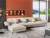 卡罗亚 现代极简 舒适透气 优质布艺+实木框架 1+3+右贵妃转角沙发