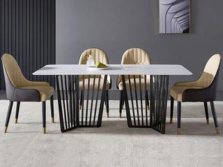 极简 雪山石岩板 1.8米 餐桌