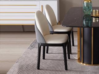 极简 环保纳帕皮革/橡木架 餐椅