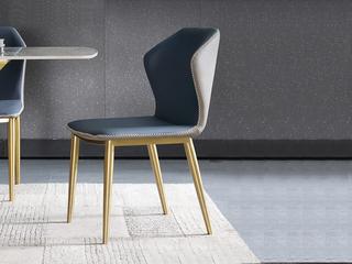 轻奢 环保纳帕皮革/实木架 餐椅