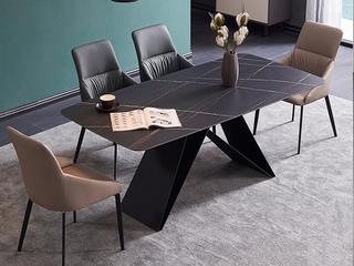 极简 劳伦黑金岩板 1.6米 餐桌