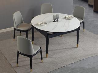 极简 雪山石岩板 1.3米 多功能 圆餐桌