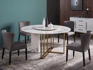 轻奢 雪山石岩板 1.3米 圆餐桌(不含转盘)