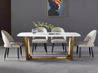 轻奢 雪山石岩板 1.5米 餐桌