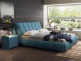卡罗亚 极简风格 舒适透气 优质棉麻+实木框架 布艺 1.5米 天蓝色 床