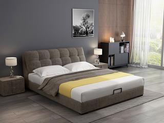 极简风格 实木框架 高弹海绵靠包 1.8米 布艺咖啡色床