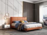 卡罗亚 极简风格 舒适软靠+实木框架 百搭1.8米橙色皮艺高箱床(搭配实木排骨架)