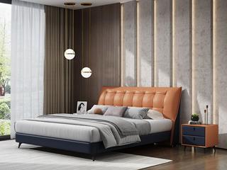 极简风格 真皮+实木框架 1.8米橙褐色+蓝混色 床 (搭配实木排骨架)