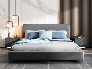 极简风格 舒适透气 优质布艺+实木框架 1.8米 高箱床(搭配实木排骨架)