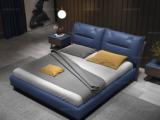 卡罗亚 时尚简约 高弹舒适 实木框架+白蜡木 皮艺 1.5米宝蓝色双人床(搭配实木排骨架)