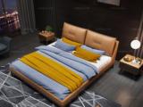 卡罗亚 时尚简约 高弹舒适 实木框架+白蜡木 皮艺 1.5米橙褐色双人床(搭配实木排骨架)